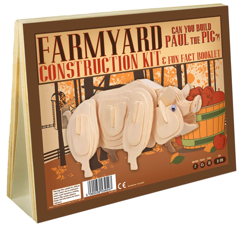 Farmyard Construction Kit & Fun Fact Booklet - Paul The Pig