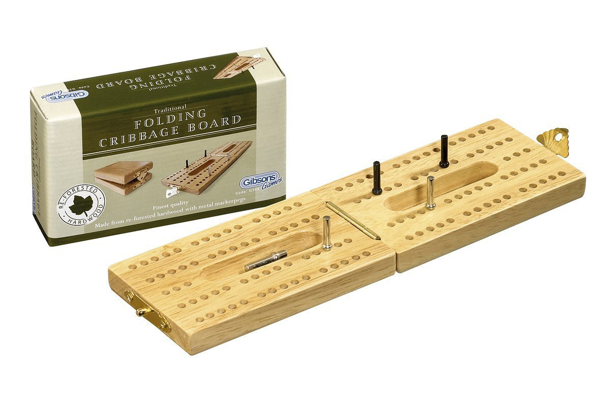 Gibsons folding cribbage board gibson ebay for Cribbage board drilling templates